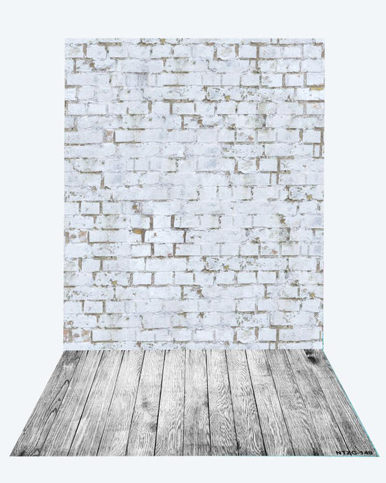 Kate Retro White Brick Wall backdrop + Gray Wood Floor Mat for Photography - Kate backdrops UK