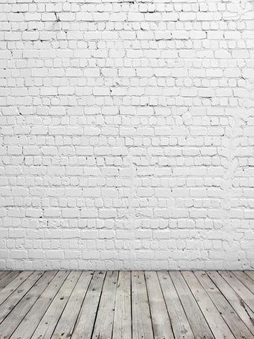 Katebackdrop:Kate White Bricks Wall Background Wooden Floor Photo Backdrops