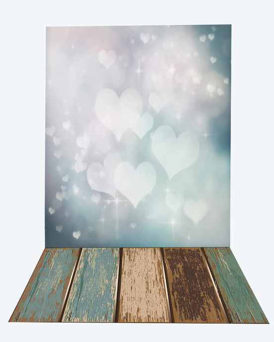 Kate White Love Bokeh backdrop for Valentine's Day + wood floor mat - Kate backdrops UK