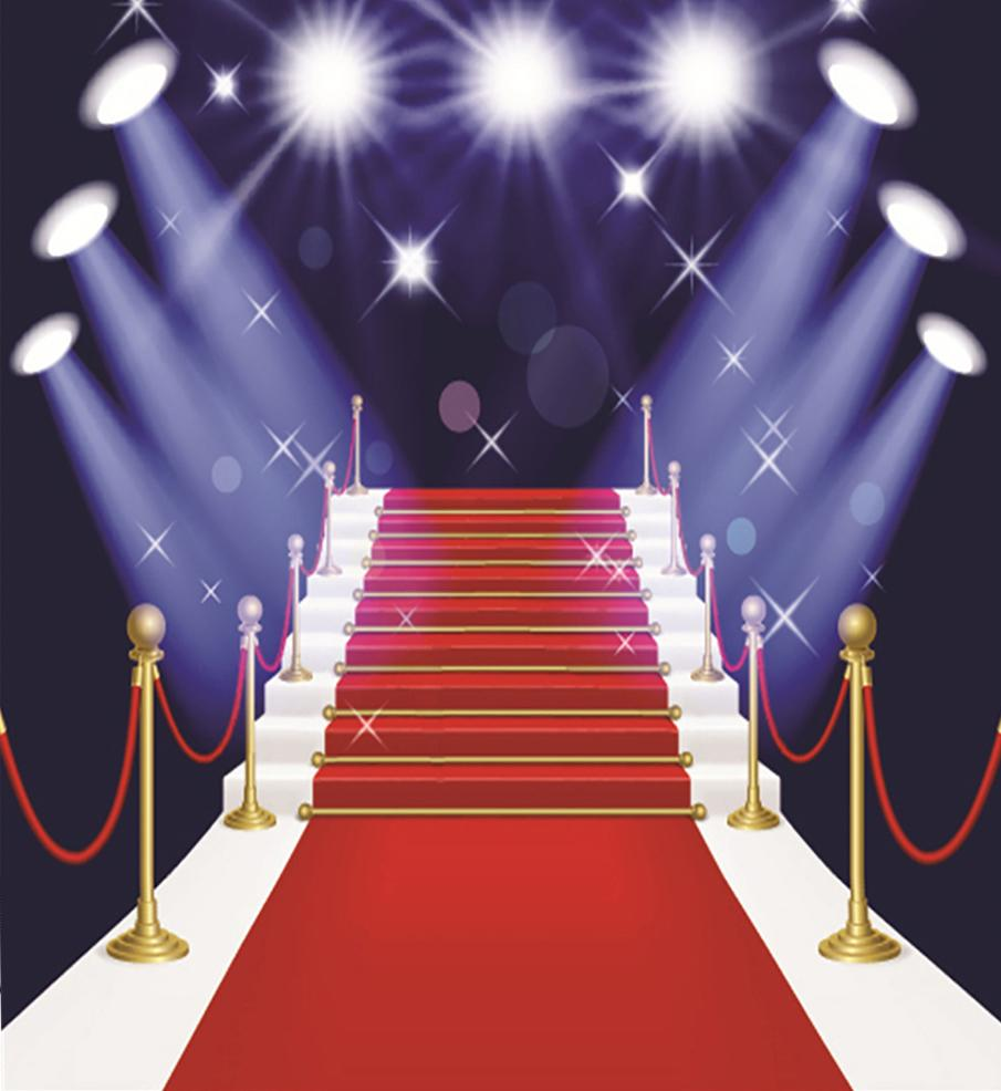 Katebackdrop£ºKate red carpet backdrop lights stage for photos 6.5x10ft(2x3m)-only one