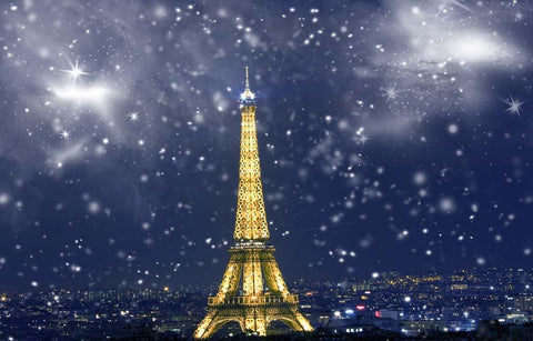 Katebackdrop:Kate Eiffel Tower backdrop photography snowflake background 5x7ft(1.5x2.2m)-only two