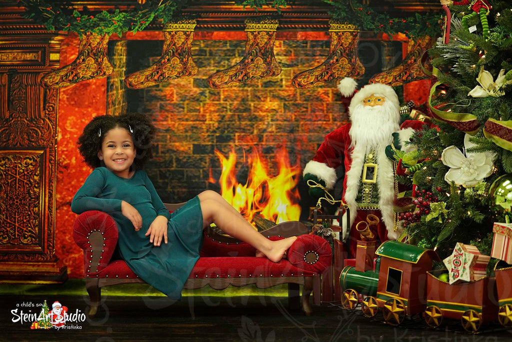 Kate Fireplace Stockings Backdrop for Christmas Photography