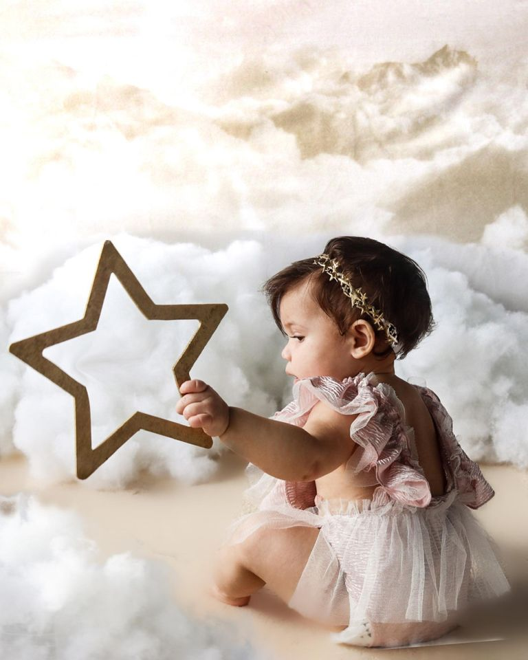 Kate Litter pink sky star backdrop for baby designed by Jerry_Sina
