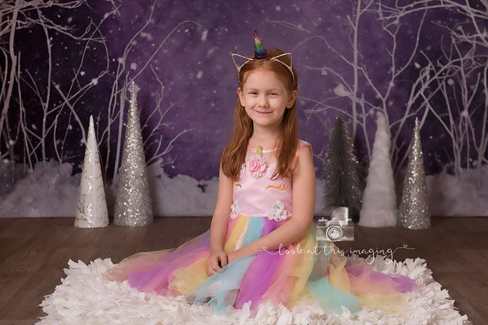 Kate Purple Winter Wonderland Snowy Backdrop Designed By Arica Kirby