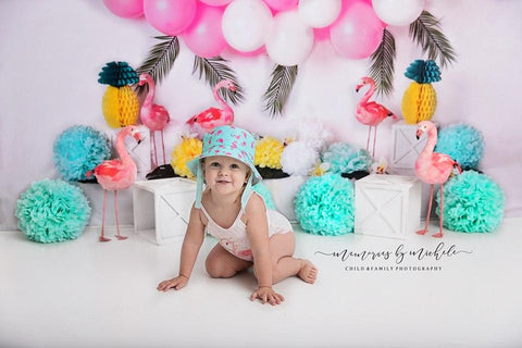 Kate Balloons Flowers Flamingo Summer Backdrop for Photography Designed by Mandy Ringe Photography