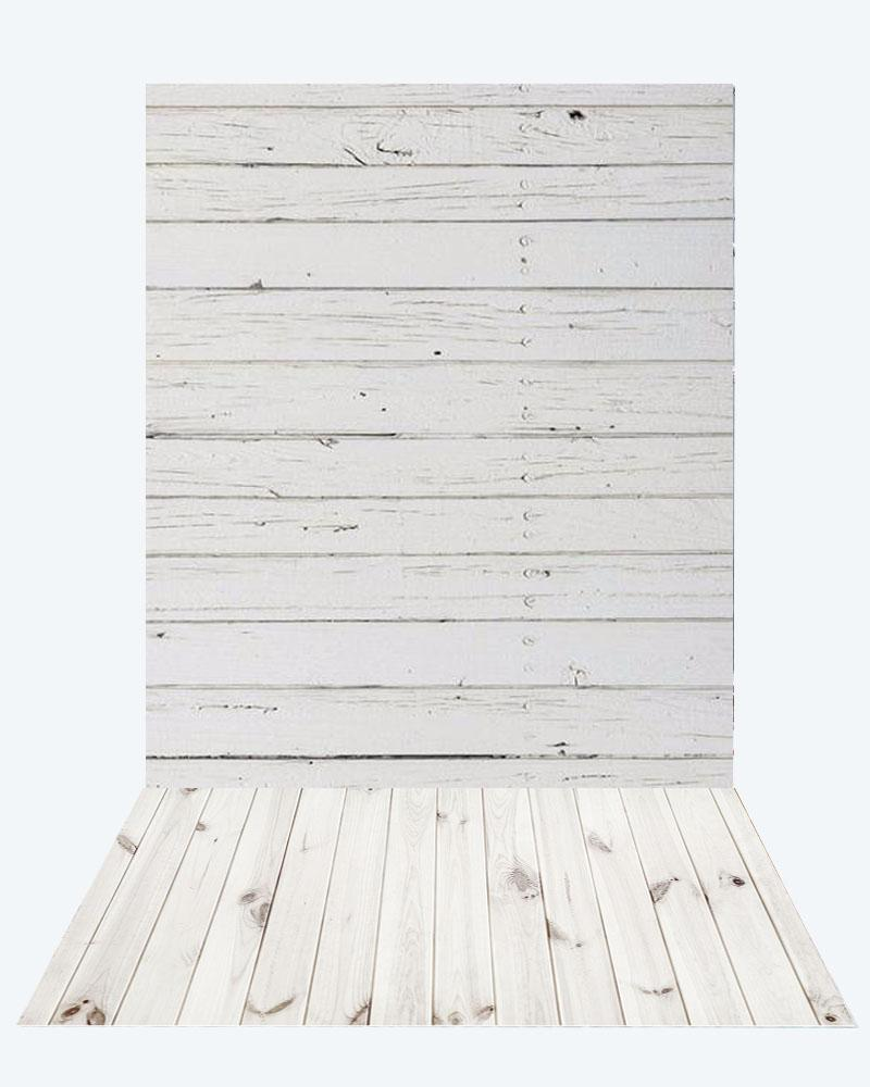 Kate retro milk wood Wall + White Wooden floor mat - Kate backdrops UK