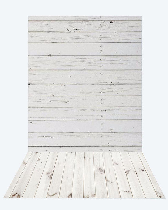 Kate retro milk wood Wall + White Wooden floor mat - Kate backdrop UK