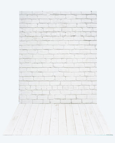 Kate White Brick Wall backdrop + White Wood Rubber Floor Mat