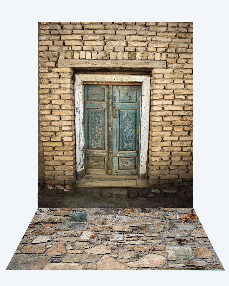 Kate Brick Door Backdrop + Brick Stone Road Rubber Floor Mat - Kate backdrops UK