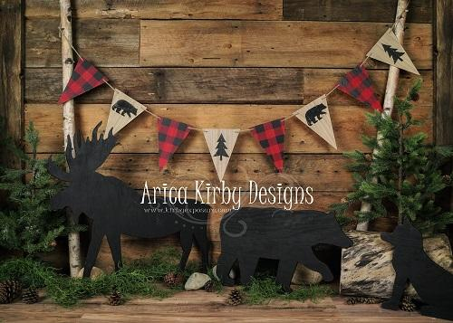 Kate Woodland Plaid Dark Wood Backdrop Designed by Arica Kirby