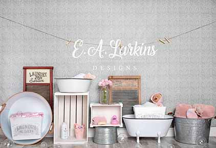 Kate Summer Baby Girl Bath Time Backdrop for Photography Designed by Erin Larkins