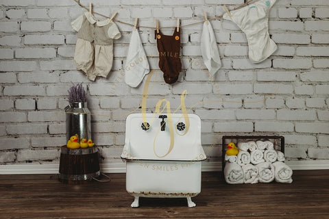 Kate Children Baby Shower Retro White Brick and Wall Wash Basin Backdrop for Photography Designed by Little Golden Smiles Photography