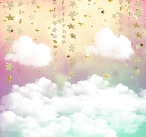 Katebackdrop:Kate Twinkle Sky Cloud rainbow with the gold stars cake smash backdrop