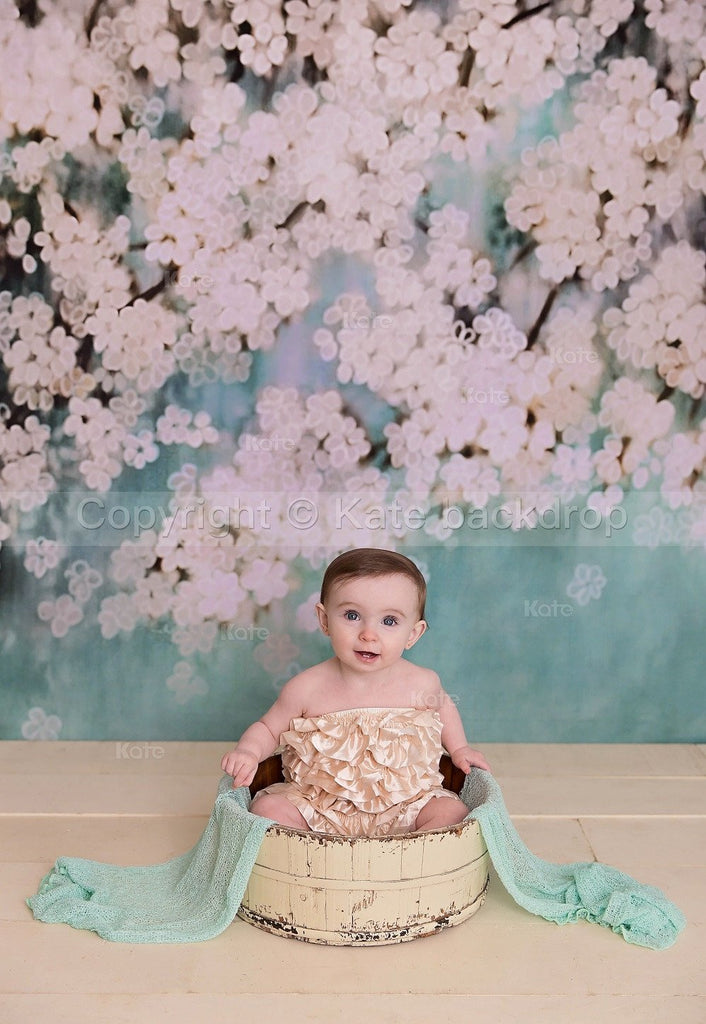 Katebackdrop£ºKate Retro Style Green With White Flowers Backdrops for Children