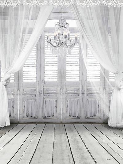Load image into Gallery viewer, Katebackdrop£ºKate Wedding White Curtain Wood Wall Photography Backdrop