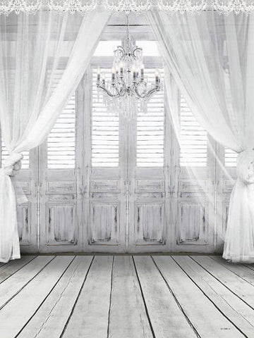 Katebackdrop:Kate Wedding White Curtain Wood Wall Photography Backdrop