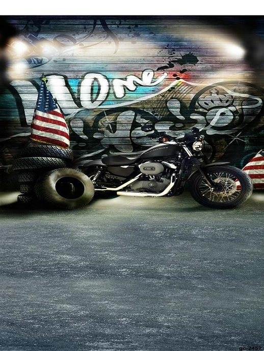 Katebackdrop£ºKate Dark Graffiti wall Backdrop Motorcycle Background