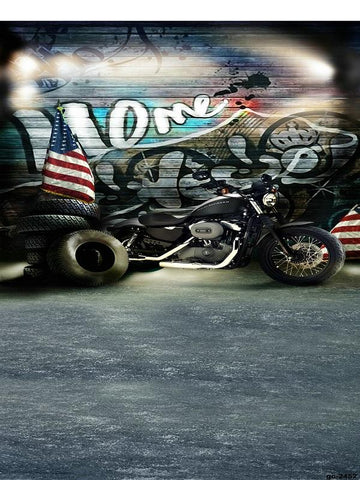 Katebackdrop:Kate Dark Graffiti wall Backdrop Motorcycle Background