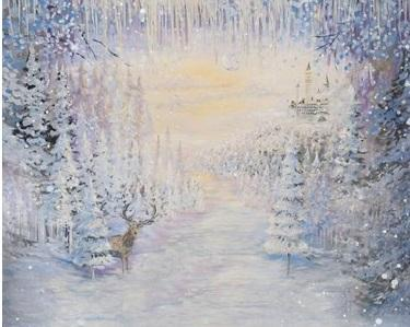 Load image into Gallery viewer, Katebackdrop£ºKate Hand Painting Frozen Forest Deer Winter Backdrop