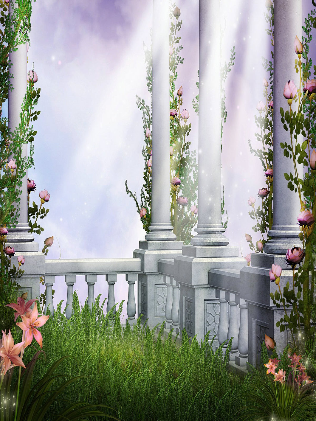 Katebackdrop:Kate Spring Photography Background Green Meadow Photo Castle Pillars