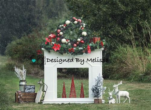 Kate Outdoor Christmas Fireplace Backdrop Designed by Melissa King