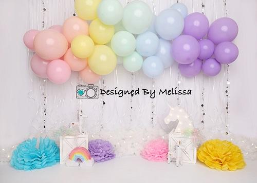 Kate Pastel Rainbow Birthday Backdrop Designed by Melissa King