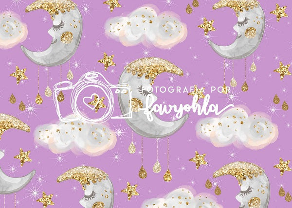 Kate Children Baby Shower Moon and Stars Clouds Purple backdrop designed by Fabiola Yar í