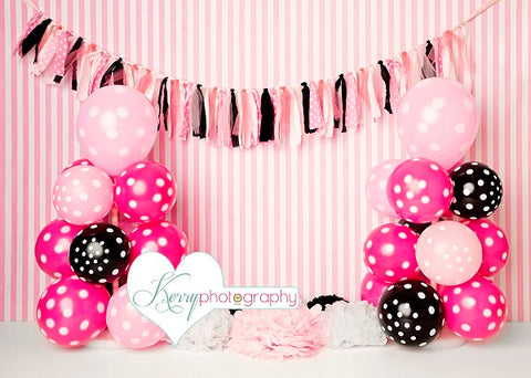 Kate Red Pink Black Speck Balloon Colored Ribbon Children Backdrop Designed by Kerry Anderson
