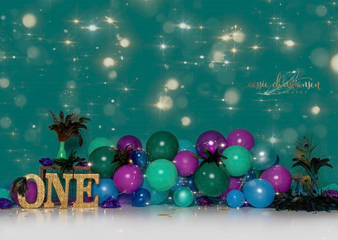 Glitter Light spots Pine Green Backdrop with Balloons
