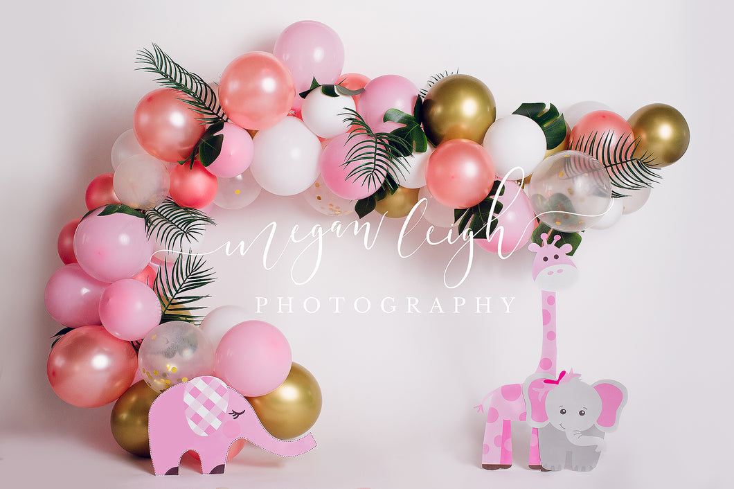 Kate Pink Safari Balloons and Elephant Giraffe Birthday Children Backdrop for Photography Designed by Megan Leigh Photography