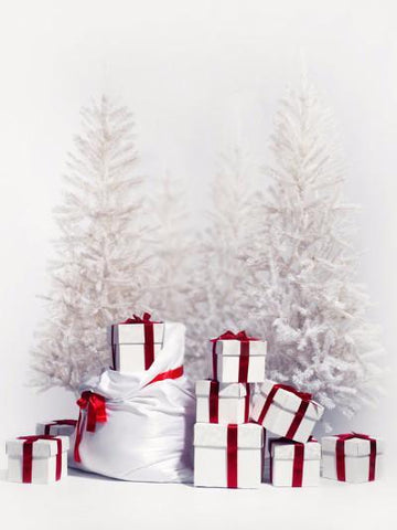 Kate Christmas Gift And Snow Tree Backdrops 5x6.5ft(1.5x2m)