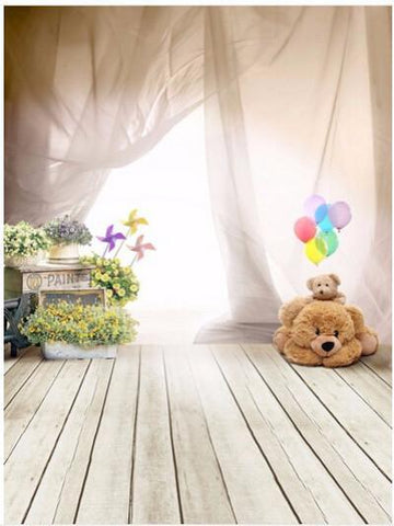 Kate Children Floor Bear Backdrops with Floor Curtain 8x8ft(2.5x2.m)-only one - Kate backdrops UK