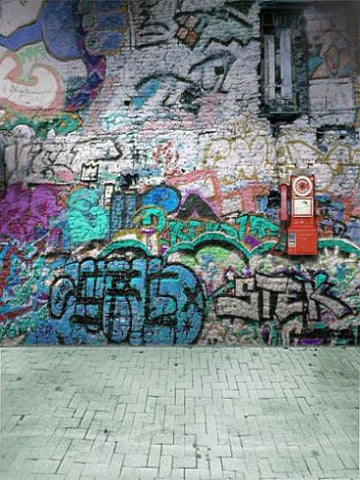 Kate Broken Walls Children Street Graffiti Photography Backgrounds - Kate backdrops UK