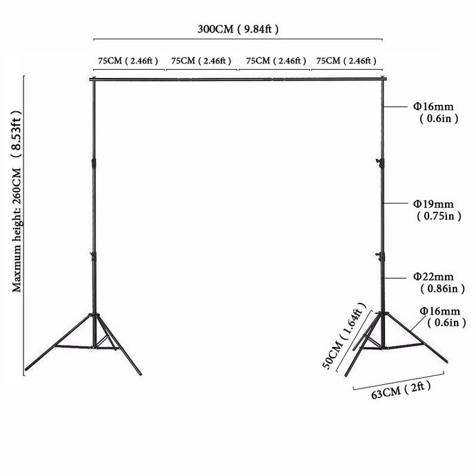 Kate Backgrounds Stand Equipment Black Framework Manual Aluminum - Kate backdrops UK