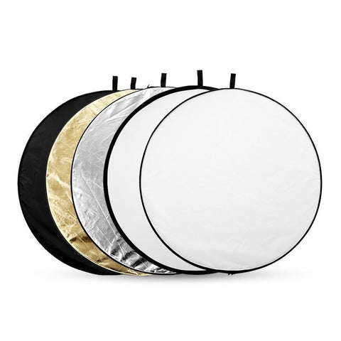 "5-In-1 Gold&Silver Light Round Photography Reflector For Studio Multi Photo Disc 24"" 60Cm - Kate backdrops UK"