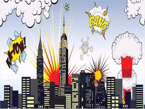Kate Children Cartoon City Superhero Photography Backdrops Newborn Party - Kate backdrops UK