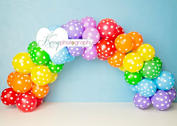 Load image into Gallery viewer, Kate Rainbow Speck Balloon Children Birthday Backdrop Designed by Kerry Anderson