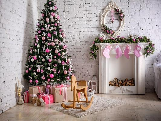Katebackdrop£ºKate Christmas Tree White Brick Wall Indoor Backdrop Photography