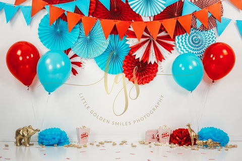 Kate Children Cake Smash Birthday Blue Red Orange Decorations and Lion Tiger Giraffe Pop Corns Peanuts on the floor Backdrop for Photography Designed by Little Golden Smiles Photography