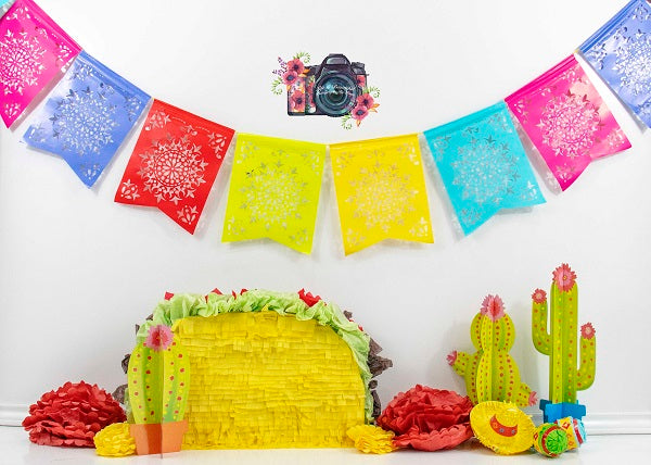 Kate Taco Colourful Children Birthday Backdrop Designed by Leann West