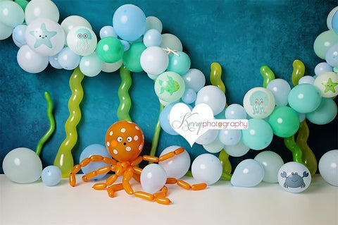 Kate Birthday Cake Smash  Balloons with Pattern Under the Sea Children Backdrop Designed by Kerry Anderson