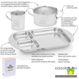 Features of safe stainless steel dinnerware for baby and kids:stackable cup, stackable bowl, stackable divided plate.