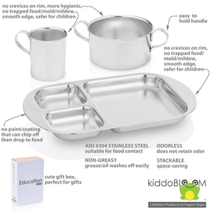 safe stainless steel dinnerware for baby and kids: smooth edge, no sharp edge, no sharp point