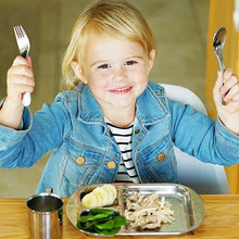 Load image into Gallery viewer, toddler girls is eating with stainless steel flatware and stainless steel dinnerware