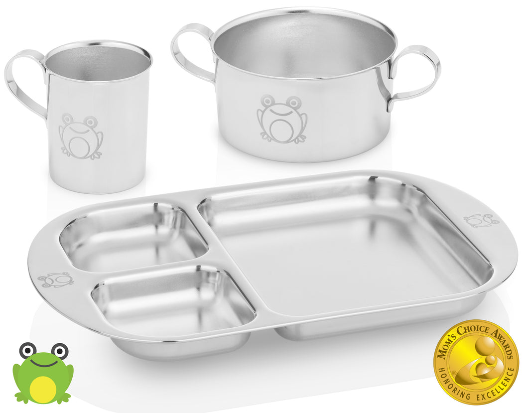 stainless steel baby dinner set frog model