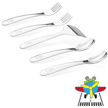 Load image into Gallery viewer, Safe stainless steel utensils for baby and toddler - airplane model- 2 baby spoons, 2 baby forks,  1 baby food pusher