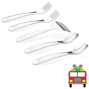 Baby or Early Toddler Safe Stainless Steel Utensil Set - Fire Truck