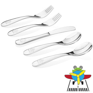 Safe stainless steel utensils for kids and toddlers- airplane model- 2 kids spoons, 2 kids forks,  1 butter knife.