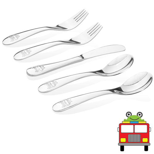 safe and nontoxic stainless steel utensils for kids and toddlers- firetruck model- 2 kids spoons, 2 kids forks,  1 butter knife.