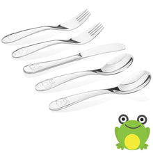 Safe stainless steel utensils for kids and toddlers- frog model- 2 kids spoons, 2 kids forks,  1 butter knife.
